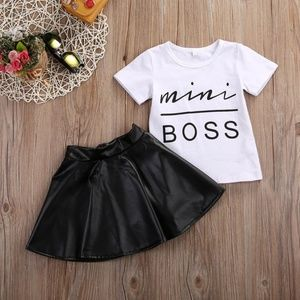 Kids Girl Clothes Set T-shirt Tops + Leather Skirt